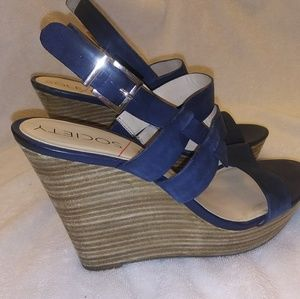 Navy platform wedge heels hardly worn 8.5